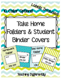 EDITABLE Student Binder & Take Home Folder Covers {Blue & Green}