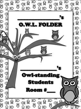 Student Binder or Folder Cover Page - Owl Theme - Owl-standing Students