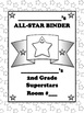 Student Binder or Folder Cover Page - Superstar Theme Multi-colored Purple Stars