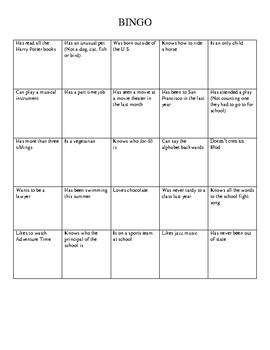 Student Bingo!