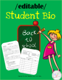 {EDITABLE} Student Contact Sheet / STUDENT BIO Form / MS, HS