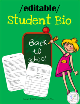 Student Bio Form / Contact sheet