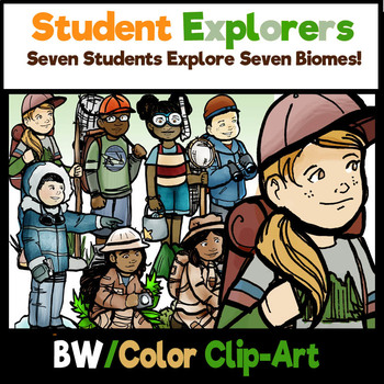 Student Biome Explorers!  14 Piece Clip-Art Set! BW/Color!