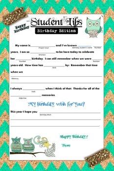 Student Birthday - Birthday Libs