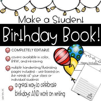 Student Birthday Book: Made by the Class!
