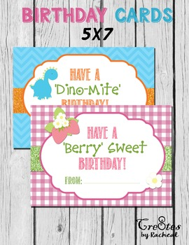 Student Birthday Card Printable 5x7 Girl and Boy Cute characters