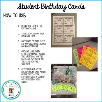 Student Birthday Cards Freebie