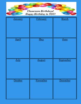 Student Birthday Chart- BLUE