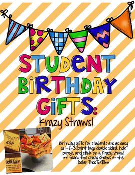 Student Birthday Gift Krazy Straws