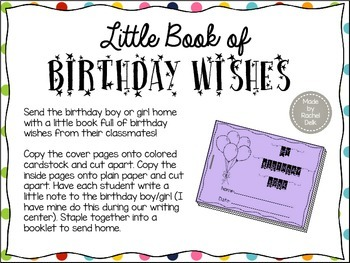 Student Birthday Notes Book