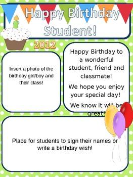 Student Birthday Pack Activities