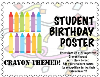 Free! Student Birthday Poster  - Editable, Crayon themed