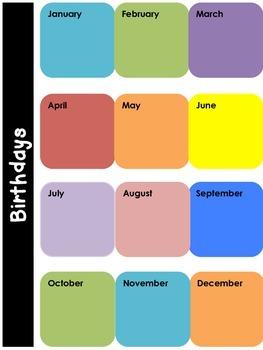 Student Birthdays - Graphic Organizer for Teachers