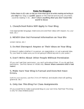 Student Blogging Rules