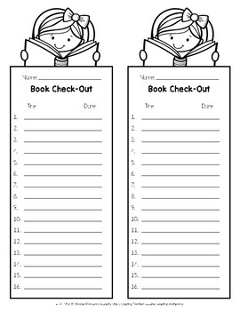 Book Check-Out Lists Freebie