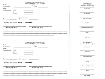 Student Book Form