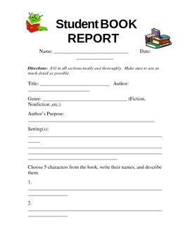 Student Book Report - Grades 3-5