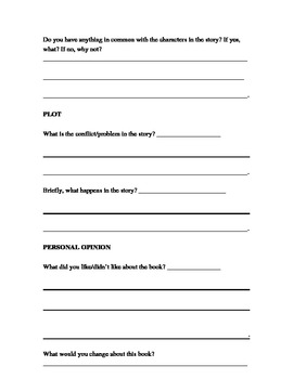 Student Book Review Worksheet