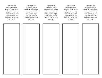 Student Bookmark Template
