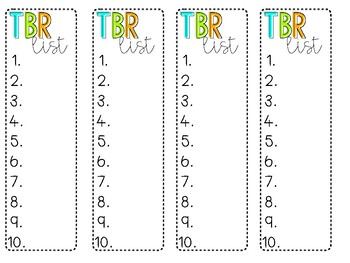 Student Bookmarks! TBR List, Genre list, and book spine review