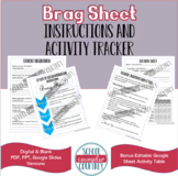 Student Brag Sheet & Activity Table - Digital & PDF