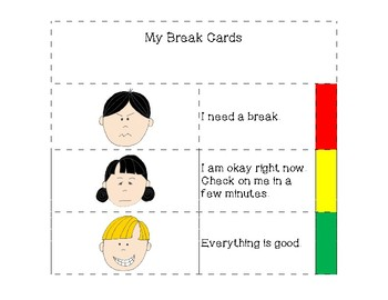 Student Break Cards (self-assessment)