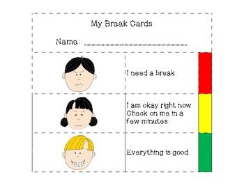 Student Break Cards (self-assessment)