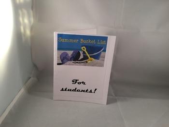 Student Bucket List Card PDF DIY