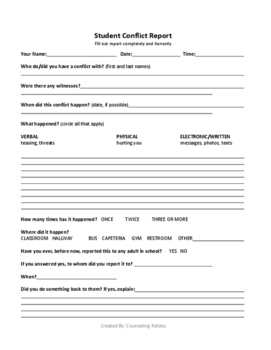 Student Bullying/Conflict Report Form