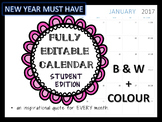 Student Calendar for 2017 with Growth Mindset and Inspirational Quotes