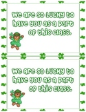 Student Cards for St. Patricks Day- Printable Note or Gift Tag