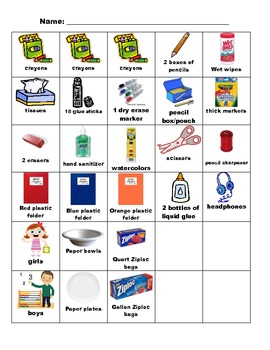 Student-Centered Chart For Collecting Student School Supplies