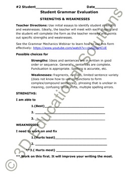 SALE Student-Centered Grammar Assessment Form