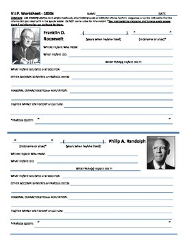 History U.S. - Historical Figures Research Sheets - 1930s Collection