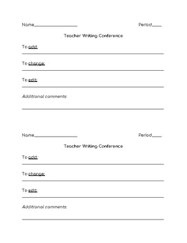 Student-Centered Writing Conference Sheet