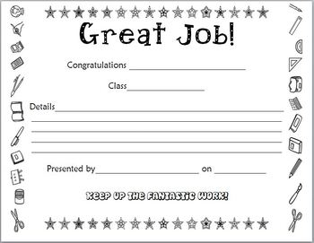Student Certificate for a great job