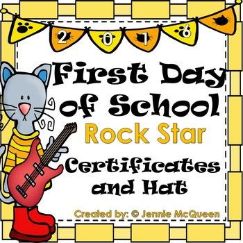 First Day of School Certificates and Hat: Rockstars!
