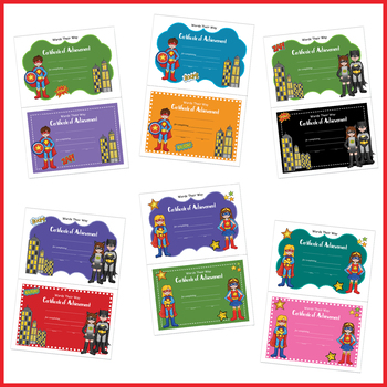 Student Certificates for Words Their Way (Superhero)