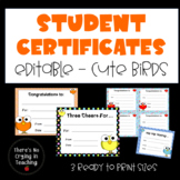 Student Certificates with Googly-Eyed Bird Theme