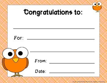 Student Certificates with Cute Birds