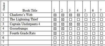 Student Chapter Tracker-Track Students' Independent Reading