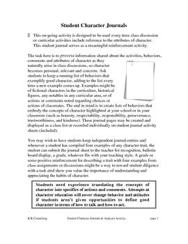 Student Character Journals & Analysis Activities
