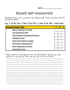 Student Character Traits Self-Assessments