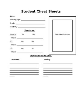 Student Cheat Sheets (Word Editable)
