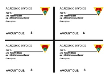Student Checking Account Checks and Invoices
