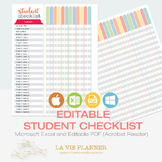 Student Checklist Editable - Teacher Binder | Student Record | Binder Insert