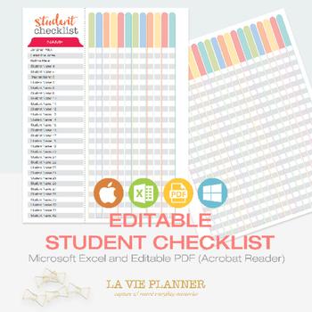 Student Checklist Editable - Teacher Binder | Student Record | Binder Insert