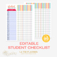 Student Checklist Editable - Teacher Binder   Student Reco