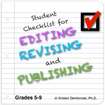 Student Checklist for Editing, Revising, and Publishing
