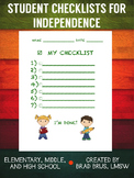 Student Checklists for Independence -  K-12